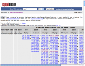 Image of a WayBack Machine search