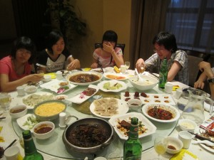 A Picture of the table of food at supper in Jinan, Shandong, China